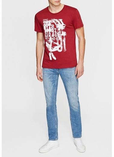 Mavi Baskılı Tişört Kırmızı